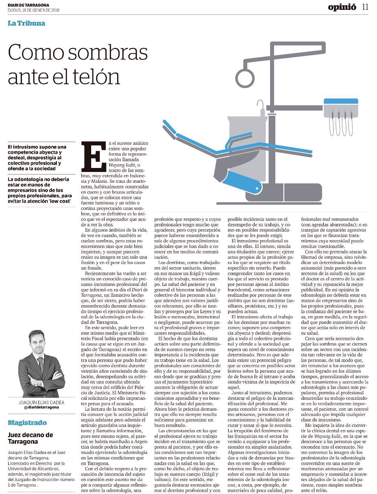Articulo compartido diari de Tarragona sobre intrusismo en odontologia y sus riesgos